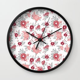 Floral Bama alabama crimson tide pattern gifts for university of alabama students and alumni Wall Clock
