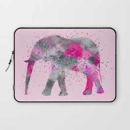 Crazy pink Elephant Paint Splatter Art Laptop Sleeve