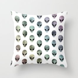 Grey Alien Rainbow (white background) Throw Pillow