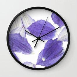 Beautiful Falling Purple Clematis Petals Wall Clock