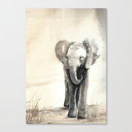Baby Elephant Walking Canvas Print