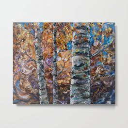 Birch Trees with Palette Knife by OLena Art for @society6 Metal Print