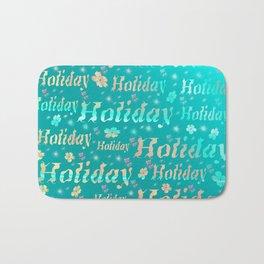 shiny font happy holidays in mint blue Bath Mat