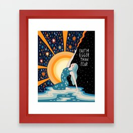 Faith bigger than fear Framed Art Print