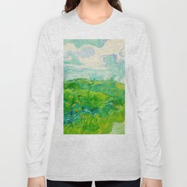 Field with Green Wheat 1890 Oil Painting By Vincent Van Gogh Long Sleeve T-shirt