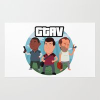 grand theft auto Area & Throw Rugs featuring Grand Theft Auto V Cartoon by Aaron Lecours
