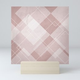 Overlapping Diamond Design in Shell Pink Mini Art Print