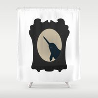 narwhal Shower Curtains featuring NARWHAL SILHOUETTE by American Handcraft