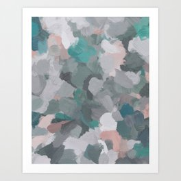 Mint Teal Blue Coral Pink Heather Gray Abstract Flower Wind Expressive Painting Modern Wall Art Art Print