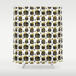 Black and Gold Giftboxes Pattern Shower Curtain