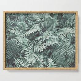 Fern Patten Turquoise Texture Serving Tray