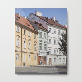 Buildings on a Cobblestone Street in Prague Metal Print
