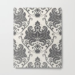 Luxury Floral Damask Pattern – Neutral Dark Gray and Cream Metal Print