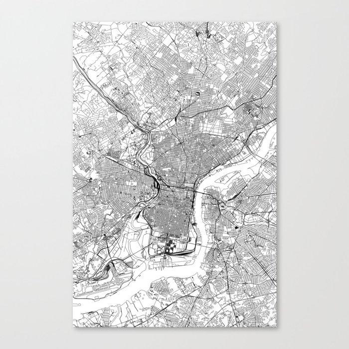 Philadelphia White Map Leinwanddruck