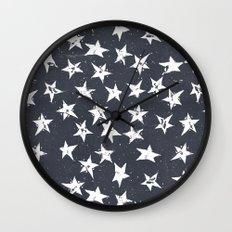Linocut Stars - Navy & White Wall Clock