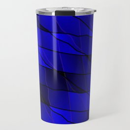 Mirrored gradient shards of curved blue intersecting ribbons and horizontal lines. Travel Mug