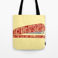 the office Tote Bags featuring Office Space by Drew Wallace