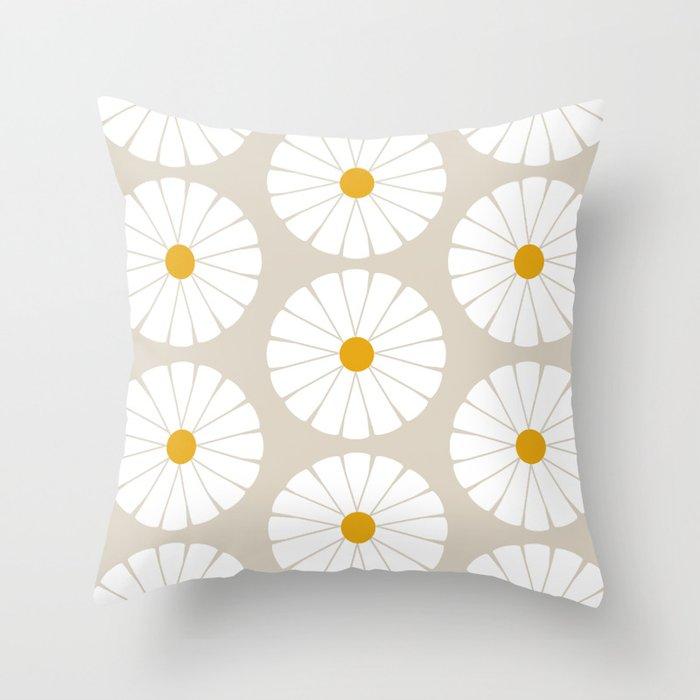 Minimal Botanical Pattern - Daisies Throw Pillow