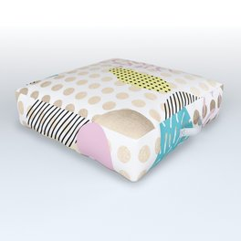 Simply Metallic Memphis Dots Outdoor Floor Cushion