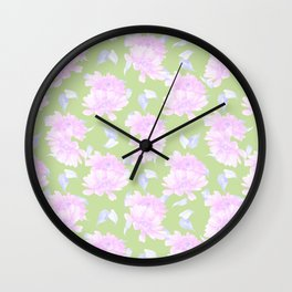 Mint green lavender pink watercolor floral Wall Clock