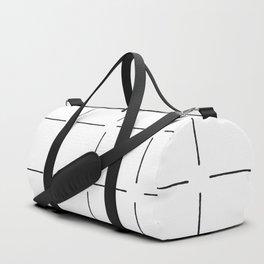 Block Print Simple Squares in Black & White Duffle Bag