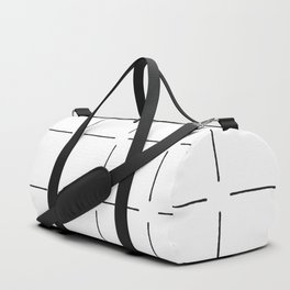 Block Print Simple Squares in Black & White Duffle Bag