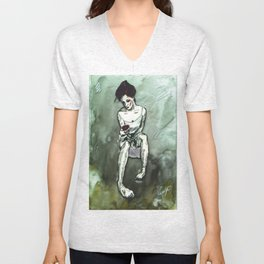 The woman and flower Unisex V-Neck