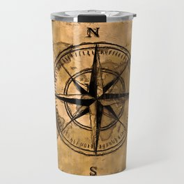 Destinations - Compass Rose and World Map Travel Mug