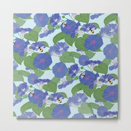 Glory Bee - Vintage Floral Morning Glories and Bumble Bees Metal Print