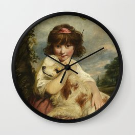 Joshua Reynolds - A Young Girl and Her Dog Wall Clock