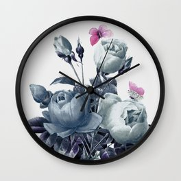 Roses and Butterflies Wall Clock