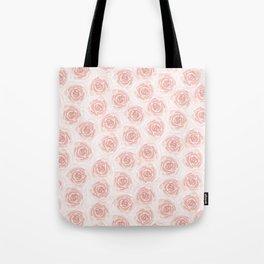 Soft Pink Roses Print Tote Bag