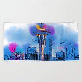 The Space Needle In Soft Abstract Beach Towel