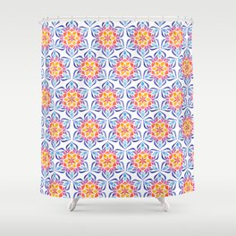 Snowflake - Blue and Yellow Shower Curtain