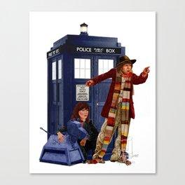 4th Doctor, Sarah Jane, K-9 and the TARDIS Canvas Print