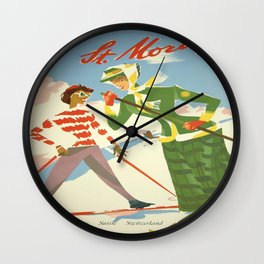 Vintage poster - St. Moritz Wall Clock
