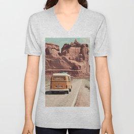 Retro Van in Desert Wall Art Unisex V-Neck