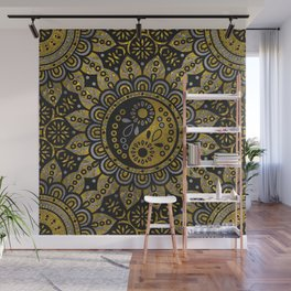 Yin yang symbol in Black and gold ornament Wall Mural