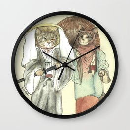 A Samurai Cat with one green eye and one yellow eye and a Umbrella Cat with Her Lantern Wall Clock