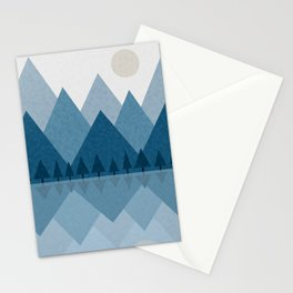 Calming Winter Abstract Geometric Mountains and Pine Trees with Reflections in Blue and Beige Tones Stationery Cards