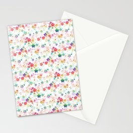 Small Rainbow Bright Pastel Watercolor Flowers and Vines Stationery Cards