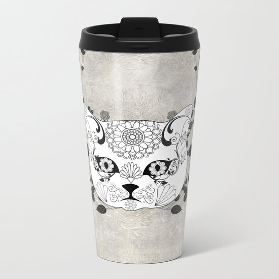 Wonderful sugar cat skull Metal Travel Mug