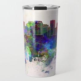 Richmond skyline in watercolor background Travel Mug