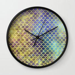 Rainbow Mermaid Scales Pattern Wall Clock