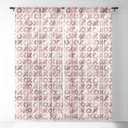 XOXO Kiss Me Rose Gold Pattern Sheer Curtain