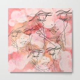Zen Soul Awakening Abstract Face Art No.4 Metal Print