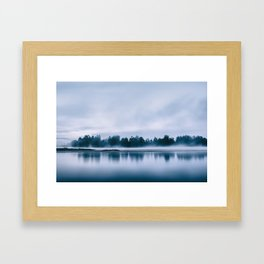 Peaceful blue morning in the crystal clear waters of the river Framed Art Print