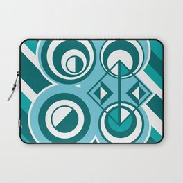 Striped Blue White and Teal Falling Eccentric Circles Abstract Art Laptop Sleeve