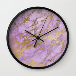 Lavender Gold Marble Wall Clock