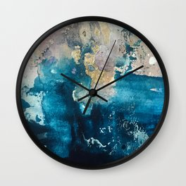 Timeless: A gorgeous, abstract mixed media piece in blue, pink, and gold by Alyssa Hamilton Art Wall Clock